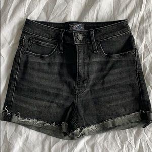 Gray High Rise Denim Shorts